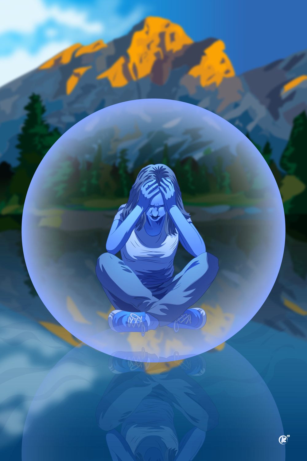 Depression 21: War thunders inside her bulletproof bubble, blind to beauty, she only feels sorrow. Suffering outside of truth and time, she's stuck inside her own blue mind.