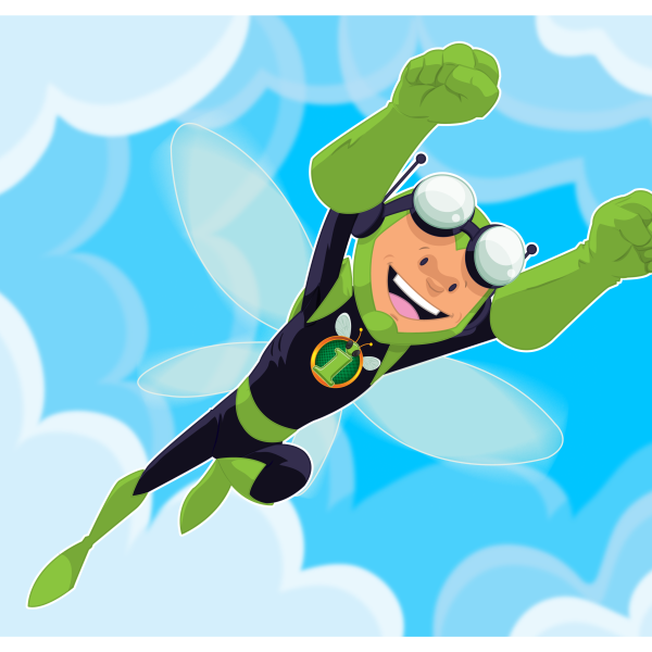 My boy's superhero character.  He designed it, I drew it up in Illustrator.